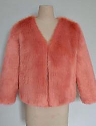 Cappotto di pelliccia Da donna Casual Semplice Autunno Inverno,Tinta unita A V Pelliccia di volpe Corto Manica lunga