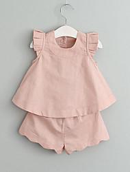 Недорогие -Девочки Наборы Искусственный шёлк Однотонный Лето Без рукавов Набор одежды