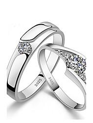 Homme Femme Couple de Bagues Cuff Anneau Zircon Simple Style Plaqué argent Forme de Cercle Bijoux Pour Mariage Quotidien Décontracté