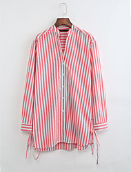 cheap -Women's Cotton Shirt - Solid Colored Striped Stand