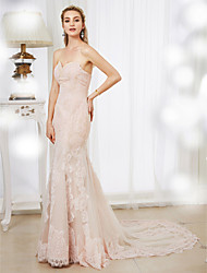 Mermaid / Trumpet Sweetheart Court Train Lace Tulle Wedding Dress with Beading Appliques by LAN TING BRIDE®
