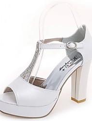 Da donna Sandali Footing Con cinghia PU (Poliuretano) Estate Formale Con diamantini Quadrato Bianco Argento 7,5 - 9,5 cm