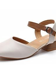 Недорогие -Для женщин Обувь на каблуках Светодиодные подошвы Осень Зима Полиуретан Повседневные Для праздника Пряжки Блочная пятка Черный Бежевый