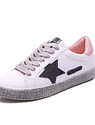 cheap -Women's Sneakers Comfort Spring Fall Fabric Athletic Casual Outdoor Dress Lace-up Flat Heel Black Silver Blushing Pink Flat