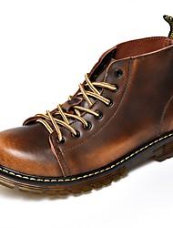 Недорогие -Муж. обувь Дерматин Весна Модная обувь Удобная обувь Ботинки для Повседневные Черный Серый Коричневый