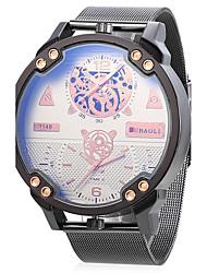 Hombre Reloj Deportivo Reloj Militar Reloj creativo único Chino Cuarzo Dos Husos Horarios Metal Banda Cool Negro