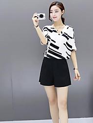 cheap -Women's Daily Cute Casual Geometric V Neck Pant Half Sleeves Summer Silk
