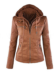 Women's Going out Casual/Daily Simple Winter Fall Jacket,Solid Hooded Long Sleeve Short Cotton