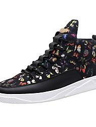 baratos -Homens sapatos Couro Ecológico Inverno Outono Solados com Luzes Conforto Tênis Cadarço para Casual Ao ar livre Preto Arco-íris Preto e