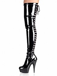 cheap -Women's Shoes PU Winter Fashion Boots Boots Stiletto Heel Round Toe Over The Knee Boots Buckle for Party & Evening Black / Gray / Red