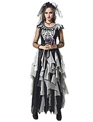 cheap -Ghostly Bride Dress Women's Unisex Halloween Carnival Day of the Dead Festival / Holiday Halloween Costumes Outfits Black / White Vintage