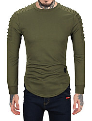 Men's Sports Casual/Daily Simple Sweatshirt Solid Patchwork Round Neck Micro-elastic Wool Faux Fur Cotton Long Sleeve Fall Winter