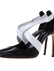 Women's Heels Summer Fall Sheepskin Walking Shoes Zipper Hollow-out Stiletto Heel Black 3in-3 3/4in