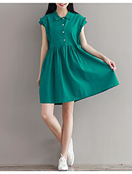 Women's Casual/Daily Loose Dress,Solid Shirt Collar Above Knee Short Sleeve Cotton Summer Mid Rise Micro-elastic Thin