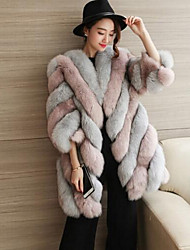 Women's Plus Size Simple Fall Winter Fur Coat,Color Block Round Neck Long Sleeve Long Fox Fur