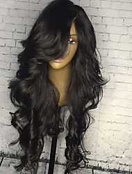 cheap -Human Hair Lace Front Wig / Glueless Lace Front Wig Brazilian Hair Body Wave 130% Density With Baby Hair / Women / Natural Hairline Natural Black Women's Medium Length / Long Human Hair Lace Wig