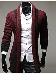 cheap -Men's Street chic Long Sleeves Cardigan - Solid Colored Shirt Collar