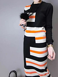Women's Going out Casual/Daily Club Simple Spring Fall Hoodie Skirt Suits,Striped Round Neck Long Sleeve Micro-elastic