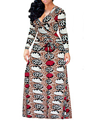 Недорогие -Для женщин На выход На каждый день Секси Винтаж Уличный стиль С летящей юбкой Платье С принтом,V-образный вырез Макси Длинный рукав