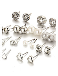 cheap -12 Pcs/set Women's Stud Earrings Crystal Imitation Pearl Rhinestone Acrylic Fashion Bling Bling Elegant Crystal Imitation Pearl AlloyRound Heart