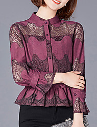 Women's Going out Casual/Daily Boho Fall Winter Blouse,Solid Stand Long Sleeves Polyester Medium