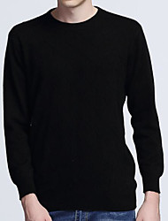 Men's Casual/Daily Simple Regular Pullover,Solid Round Neck Long Sleeves Cashmere Spring Medium Stretchy