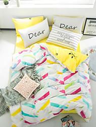 cheap -Geometric 4 Piece Cotton Print Cotton 1pc Duvet Cover 2pcs Shams 1pc Fitted Sheet