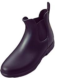 baratos -Mulheres Sapatos Couro Ecológico Outono Coturnos Botas Salto Robusto Ponta Redonda Elástico para Casual Preto