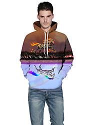 Men Realistic 3d Digital Horse Print Pullover Sports Outdoor Active Hoodie Hooded Baseball Uniform Jacket Inelastic Polyester Rainbow