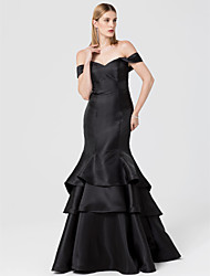 cheap -Mermaid / Trumpet Off-the-shoulder Sweep / Brush Train Satin Formal Evening Dress with Tiered by TS Couture®