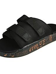 cheap -Men's Slippers & Flip-Flops Comfort PU Spring Fall Casual Flat Heel Ruby Black White Flat