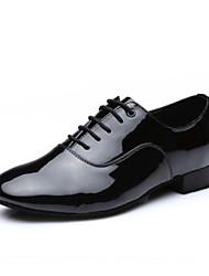 cheap -Men's Latin Shoes Faux Leather Full Sole Low Heel Dance Shoes Black / Practice