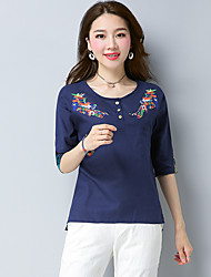Women's Casual/Daily Chinoiserie T-shirt,Embroidery Round Neck 3/4 Length Sleeves Cotton Linen