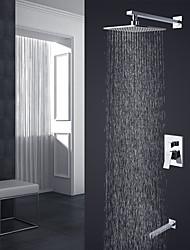 Недорогие -Современный Высокое качество На стену Дождевая лейка Керамический клапан Хром, Смеситель для душа