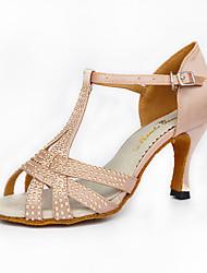 cheap -Women's Latin Leatherette Silk Sandal Sneaker Professional Rhinestone Faux Pearl Buckle Stiletto Heel Black Nude Customizable