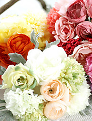 cheap -10inch Large Size 1 Branch Silk Polyester Plants Tabletop Flower Artificial Flowers