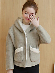 Women's Casual/Daily Simple Fall Winter Coat,Solid Hooded Long Sleeve Short Wool