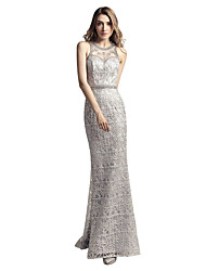 cheap -Mermaid / Trumpet Jewel Neck Sweep / Brush Train Lace Rehearsal Dinner Formal Evening Dress with Beading Lace by Sarahbridal