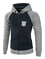 Men's Plus Size Daily Sports Plus Size Running Going out Casual Hoodie Color Block Hooded Micro-elastic Cotton Long Sleeve Winter Fall