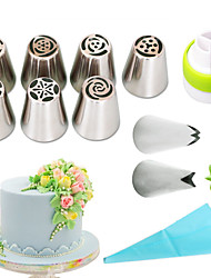 cheap -11pcs /set russian nozzles silicone bag three-color coupler piping tips rose flower leaf