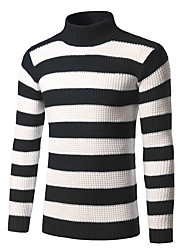 cheap -Men's Daily Going out Weekend Vintage Street chic Striped Turtleneck Pullover, Long Sleeves Winter Fall Rayon Polyester Nylon
