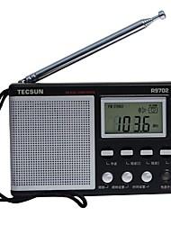 baratos -TECSUN R-9702 FM Rádio portátil Radio FM / Alto Falante Embutido / Relogio Despertador Receptor do mundo Preto