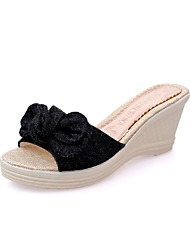 cheap -Women's Sandals Comfort Spring Summer PU Casual Dress Bowknot Wedge Heel Black Blue 2in-2 3/4in