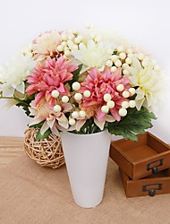 cheap -14inch Large Size 12 Heads  Silk Polyester Plants Tabletop Flower Artificial Flowers