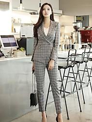 DABUWAWA Women's Work Simple Vintage Spring Fall BlazerStriped Shirt Collar Long Sleeve Regular Polyester