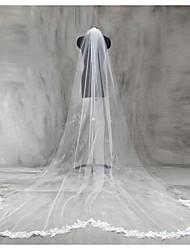 baratos -Uma Camada Borda com aplicação de Renda Véus de Noiva Véu Capela Véu Catedral Com Apliques Renda Tule
