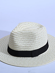 Недорогие -Жен. Шапки Отпуск Соломенная шляпа Шляпа от солнца - Чистый цвет Однотонный