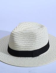baratos -Mulheres Chapéu Casual De Palha Chapéu de sol - Côr Pura Sólido