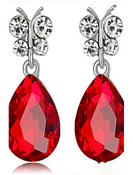 cheap -Women's Synthetic Sapphire / Synthetic Diamond Drop Earrings - Drop Fashion Red / Green / Royal Blue For Party / Birthday / Daily