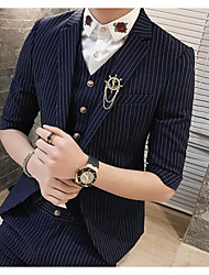 Men's Going out Casual/Daily Work Party/Cocktail Street chic Fall Winter Blazer,Striped Peaked Lapel ¾ Sleeve Regular Polyester